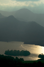 View from Lattrigg across Derwent water and Derwent Isle to Catbells and Robinson, Lake District