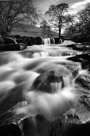 Black & White image of Stenkrith Falls near Nateby in the Upper Eden Valley, Cumbria